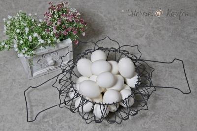 24 echte Hühnereier weiß gesprenkelt 6cm ausgeblasen natur Eier Ostereier Ostern